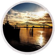 Bright Time On The River Round Beach Towel