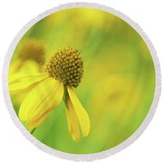 Bright Yellow Flower Round Beach Towel by David Stasiak
