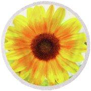 Bright Yellow Sunflower - Painted Summer Sunshine Round Beach Towel