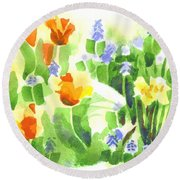 Round Beach Towel featuring the painting Brightly April Flowers by Kip DeVore