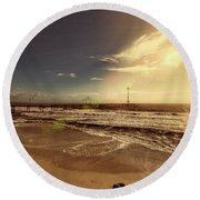 Round Beach Towel featuring the photograph Brighton Beach Pier by Douglas Barnard