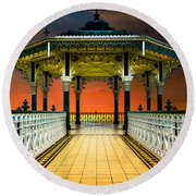 Round Beach Towel featuring the photograph Brighton's Promenade Bandstand by Chris Lord