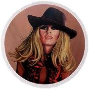 Brigitte Bardot Painting 1 Round Beach Towel