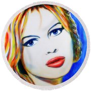 Round Beach Towel featuring the painting Brigitte Bardot Pop Art Portrait by Bob Baker