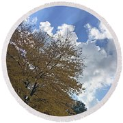 Brilliant Fall Leafmore Round Beach Towel