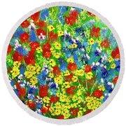 Brilliant Florals Round Beach Towel