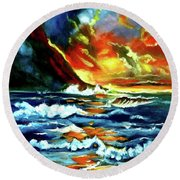 Brilliant Hawaiian Sunset Round Beach Towel by Jenny Lee
