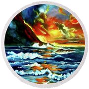 Brilliant Hawaiian Sunset Round Beach Towel