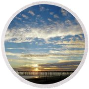 Brilliant Sunset Seacliff, Ca Round Beach Towel