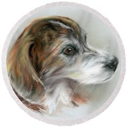 Brindle Beagle Mix Portrait Round Beach Towel