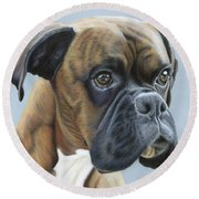Round Beach Towel featuring the painting Brindle Boxer Dog - Jack by Donna Mulley