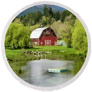 Brinnon Washington Barn By Pond Round Beach Towel by Teri Virbickis