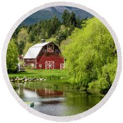 Brinnon Washington Barn Round Beach Towel by Teri Virbickis