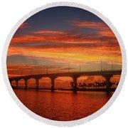 Bridge Sunrise Round Beach Towel by Tom Claud