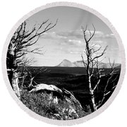 Bristle Cone Pines With Divide Mountain In Black And White Round Beach Towel