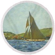 Round Beach Towel featuring the painting Britannia by Henry Scott Tuke