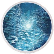 Round Beach Towel featuring the painting Brite Nite by Holly Carmichael