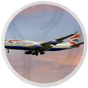 British Airways Boeing 747-436 Round Beach Towel