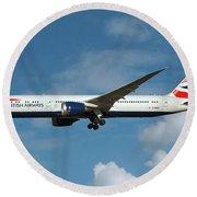 British Airways Boeing 787-9 Dreamliner Round Beach Towel