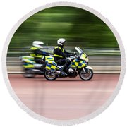 British Police Motorcycle Round Beach Towel
