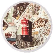 British Post Box Round Beach Towel