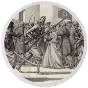 British Soldiers Are Forced Into The Black Hole Of Calcutta Round Beach Towel