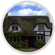 Round Beach Towel featuring the photograph British Thatched Cottage by Baggieoldboy
