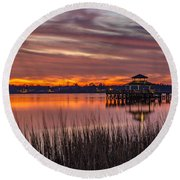 Brittlebank Park Dock Charleston Sc Round Beach Towel