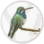 Broad Billed Hummingbird Round Beach Towel