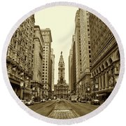 Broad Street Facing Philadelphia City Hall In Sepia Round Beach Towel by Bill Cannon