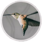 Broad-tailed Hummingbird Approaching Feeder Round Beach Towel