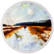 Round Beach Towel featuring the painting Broadland Walk by Valerie Anne Kelly