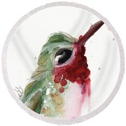 Round Beach Towel featuring the painting Broadtail Hummingbird by Dawn Derman