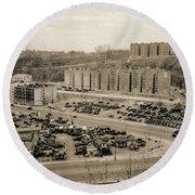 Broadway And Nagle Ave 1936 Round Beach Towel