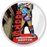 Broadway Boot Neon Sign Round Beach Towel