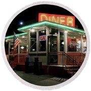Round Beach Towel featuring the photograph Broadway Diner by Christopher McKenzie