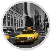 New York Broadway - Yellow Taxi Cabs Round Beach Towel