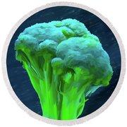 Broccoli 01 Round Beach Towel by Wally Hampton