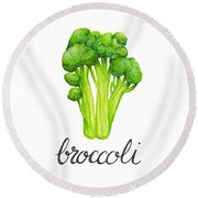 Round Beach Towel featuring the painting Broccoli by Cindy Garber Iverson