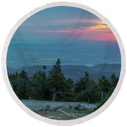 Round Beach Towel featuring the photograph Brocken, Harz - Just After Sunrise by Andreas Levi