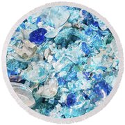 Round Beach Towel featuring the photograph Broken Glass Blue by Melissa Lane