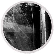 Broken Glass Window Round Beach Towel