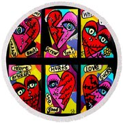 Broken Hearts Round Beach Towel