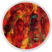 Broken Mask Encaustic Round Beach Towel