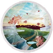 Broken Pane Round Beach Towel