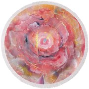 Broken Spirit Rose Round Beach Towel