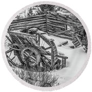 Broken Water Wheel Round Beach Towel