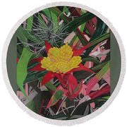 Bromelaid And Airplant Round Beach Towel by Hilda and Jose Garrancho