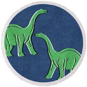 Brontosaurus Round Beach Towel by Linda Woods