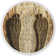 Bronze Angel Wings Round Beach Towel